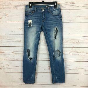 Zara Faded Distressed Crop Jeans